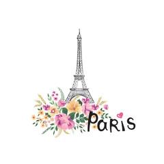 Paris background. Floral Paris sign with flowers, Eiffel tower. Travel France icon