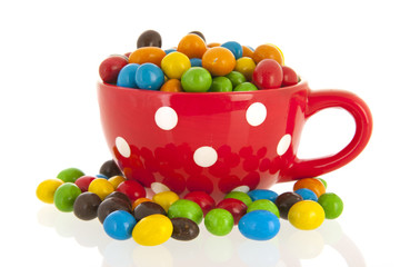 Colorful candy iin big red cup