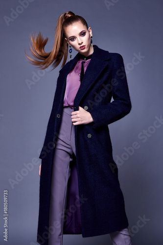 30d6576938195 Beautiful sexy business woman wear black wool coat silk blouse and pants  style for office dress cone uniform busy lady glamor makeup face cosmetic  fall ...
