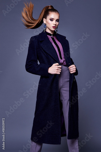 Beautiful Sexy Business Woman Wear Black Wool Coat Silk Blouse And Pants Style For Office Dress