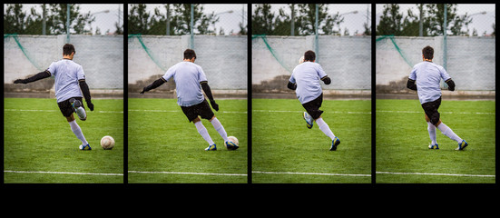 Young Athlete Kicking the Ball,  Motion at four photographs