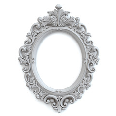 Oval Baroque Gray Frame. Clipping path.
