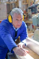 industrial carpenter working