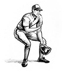 Ink drawing of a baseball player