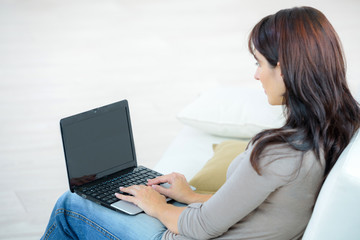 back view of beautiful concentrated woman with laptop on sofa