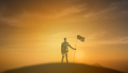 achievement, success ,leadership of business man concept, silhouette of businessman flag on the top of mountain with sunrise or sunset background