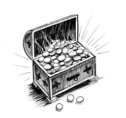 Ink drawing of a treasure chest full of golden coins