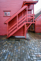 Historic red wooden building in Bryggen