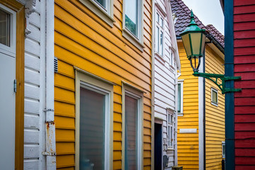 Traditional yellow and white houses in Bergen