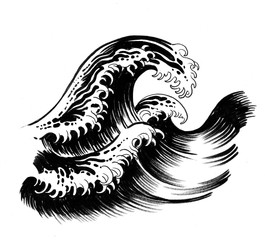 Ink illustration of a big waves