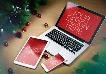 3 Devices with Christmas Decorations Mockup