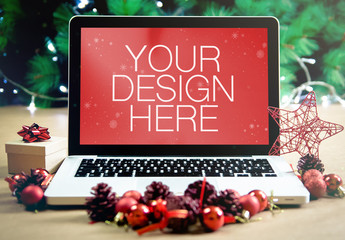 Christmas Laptop Mockup