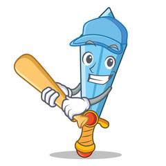 Playing baseball sword character cartoon style