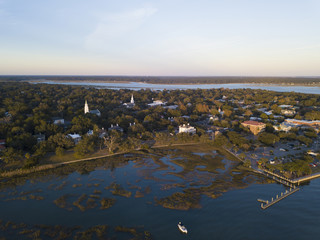 Aerial view of Beaufort, South Carolina at sunset