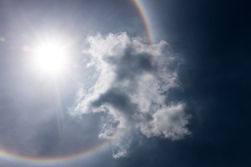 Fantastic beautiful sun halo phenomenon. Serenity nature.