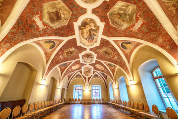 Interior: a beautiful hall with paintings