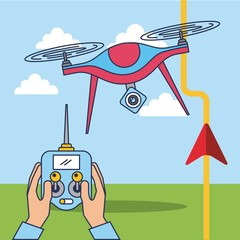 hands and drone remote control gps route location vector illustration