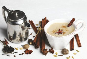 Traditional indian masala chai tea with spices