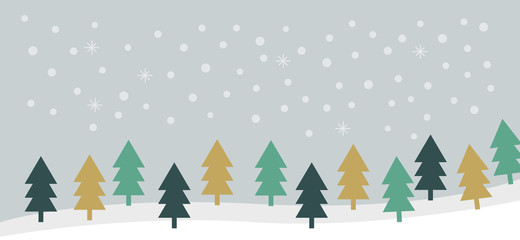 Christmas winter forest landscape background with snow. Minimal vector design with pine tree forest