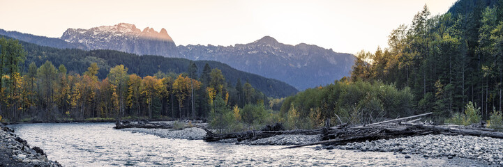 Pacific Northwest Fall Season Landscape of Mountain River and Autumn Color Trees