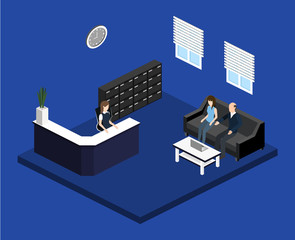 Isometric 3D illustration Interior of department reception with workplaces