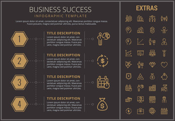 Business success infographic timeline template, elements and icons. Infograph includes numbered options, line icon set with business worker, successful businessman, corporate leader, market data etc.