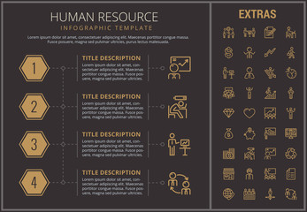 Human resource infographic timeline template, elements and icons. Infograph includes numbered options, line icon set with human resources manager, employee, business worker, corporate leader etc.