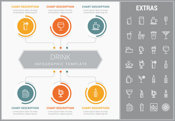 Drink infographic template, elements and icons. Infograph includes customizable graphs, charts, line icon set with bar drinks, alcohol beverage, variety of glasses, non-alcoholic beverages etc.