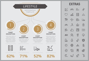 Lifestyle infographic template, elements and icons. Infograph includes numbered customizable charts, line icon set with healthy food, sport exercise, media, training machine, leisure activities etc.