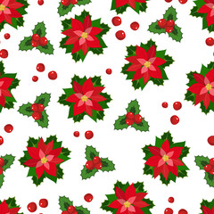 Seamless pattern with poinsettia