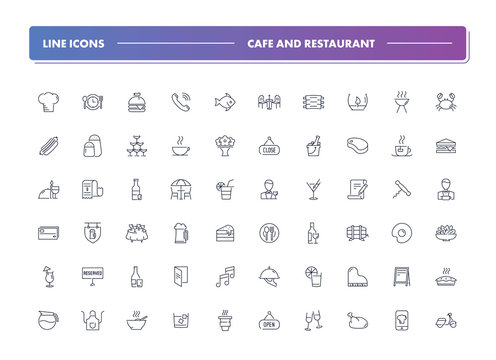 Set of 60 line icons. Cafe and restaurant