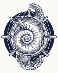 Sea wave storm and ancient ammonites tattoo and t-shirt design. Ocean wave art. Sea tattoo. Symbol of a storm and calm, silence and noise