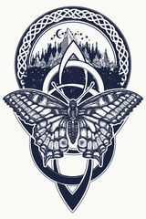 Celtic knot and butterfly tattoo. Mountain, forest, symbol travel, symmetry, tourism t-shirt design. Celtic art and beautiful swallowtail tattoo in ethnic style