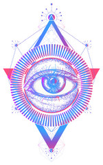 All seeing eye color tattoo art vector. Freemason and spiritual symbols. Alchemy, medieval religion, occultism, spirituality and esoteric tattoo. Magic eye t-shirt design
