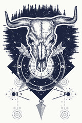 Skull bull, forest and compass tattoo and t-shirt design. Wild west art, bison skull, compass, crossed arrows, wild forest. Symbol of western, wild West, crime, outdoors