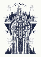 Ancient castle on the mountain. Symbol of the fairy tale, dream, magic. Medieval castle t-shirt design. Medieval castle tattoo art