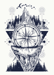 Compass, mountains and night forest boho style, t-shirt design. Mountains and antique compass tattoo art. Adventure, travel, outdoors, symbol