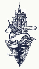 Medieval castle and unicorn tattoo art. Ancient castle on the mountain. Symbol of dream, magic. Medieval castle and fairy tale unicorn t-shirt design
