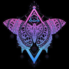 Magic butterfly tattoo and t-shirt design. Butterfly celtic style. Mystical symbol of freedom, nature, tourism. Beautiful Swallowtail boho