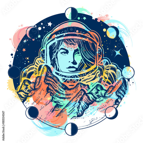 Woman Astronaut Color Tattoo Art Mountains On Mars Symbol Of Space