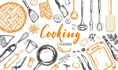 Cooking concept. Frame with utensil, kitchenware, tools. Vector hand drawn illustration with Modern Calligraphy, Lettering. Design Template