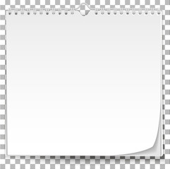 White wall calendar template on transparent background