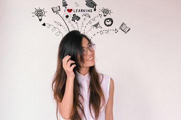 Young asian student woman with learning doodles - I love learning concept