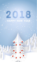 Merry christmas and happy new year paper greeting card. Winter paper landscape. vector illustration paper art and craft style.