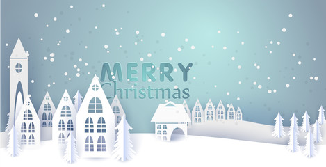 Merry Christmas and Happy New Year paper greeting card with winter houses. Winter paper landscape. vector illustration paper art and craft style.