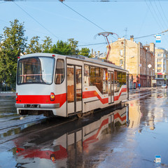Tram at the stop in the city