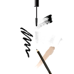 Mascara eyeliner, black eyeliner, trace from pencil, smear of tone cream, foundation and brush stroke vector, beauty and cosmetic background. Vector illustration.
