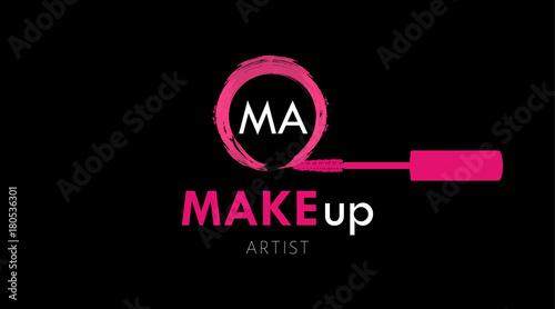 Makeup artist business card logo template pink mascara brush and makeup artist business card logo template pink mascara brush and textured circle stroke of mascara colourmoves
