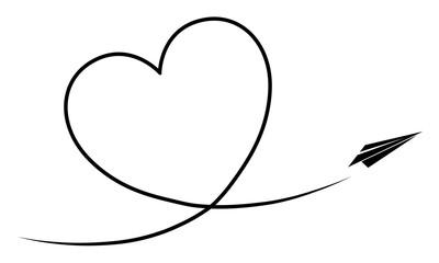 Papierflieger fliegt ein Kondesstreifen-Herz / Vektor, schwarz-weiß, freigestellt