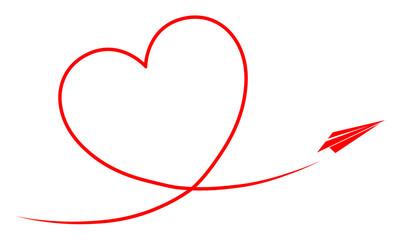 Papierflieger fliegt ein Kondesstreifen-Herz / Vektor, rot, freigestellt